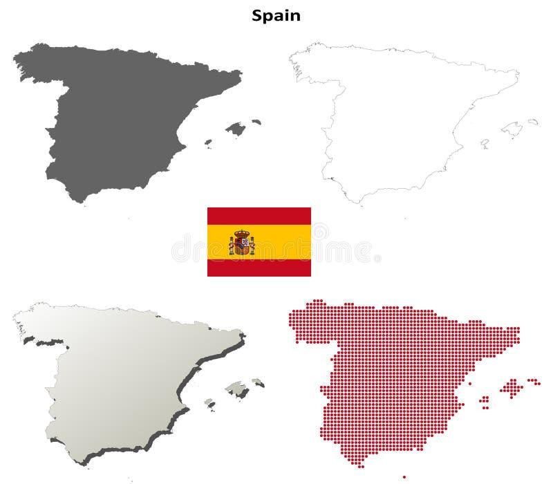 Uppsättning för Spanien översiktsöversikt vektor illustrationer