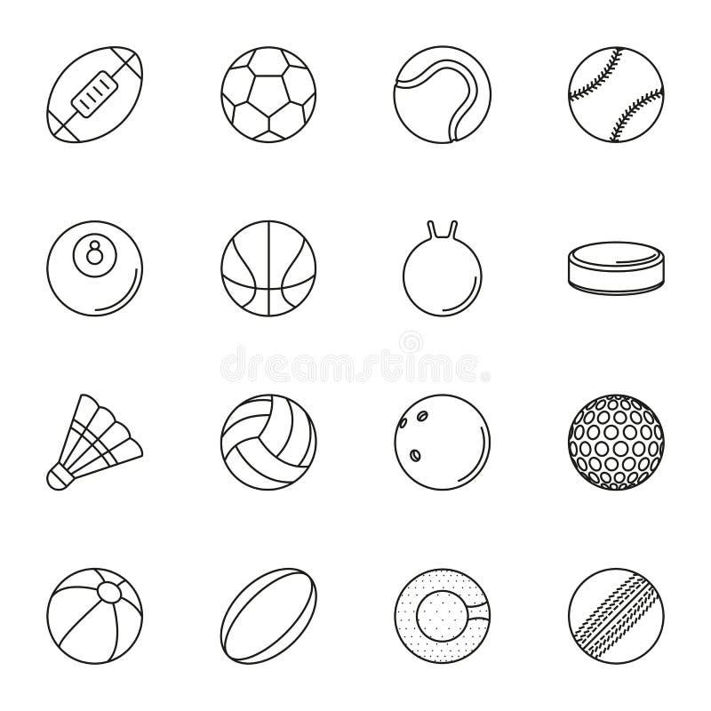 Uppsättning för sportbollsymbol på vit bakgrund stock illustrationer