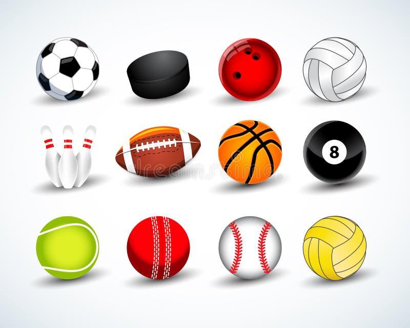 Uppsättning för sportbollvektor hockey baseball, syrsa, basket, fotboll, tennis, fotboll, baseball, bowling, golf, biljard vektor illustrationer