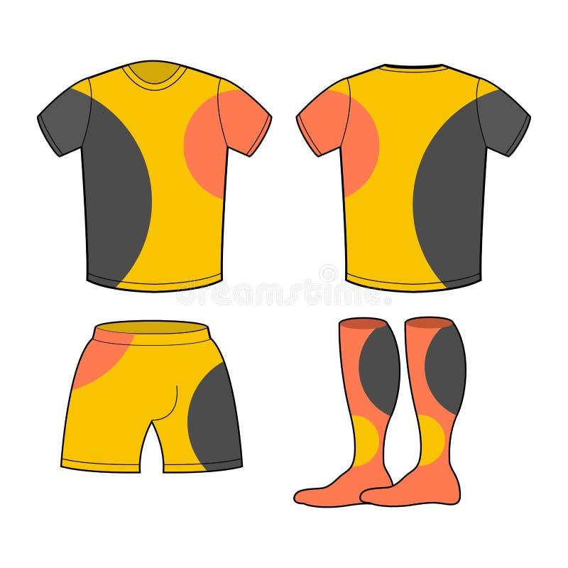 Uppsättning för sportfotbollkläder T-tröja, kortslutningar och sockor stock illustrationer