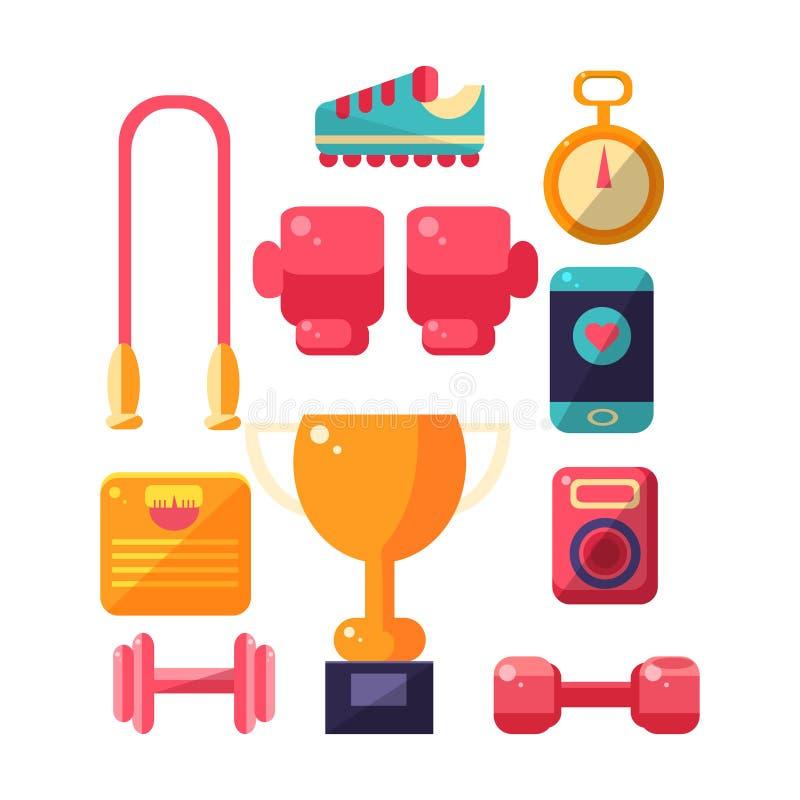 Uppsättning för sportinventariumobjekt stock illustrationer