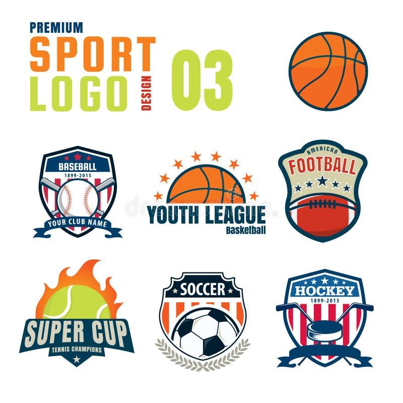 Uppsättning för sportlogodesign royaltyfri illustrationer
