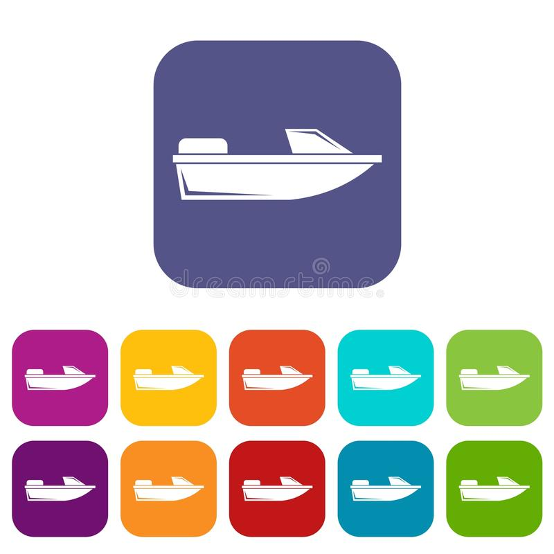 Uppsättning för sportpowerboatsymboler royaltyfri illustrationer