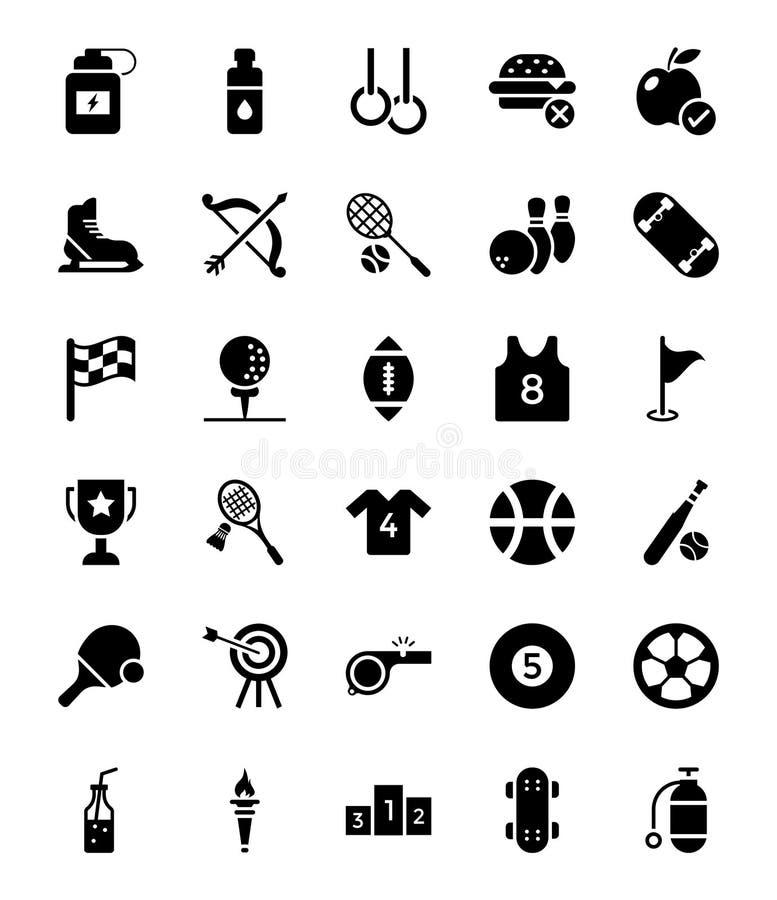 Uppsättning för sportskårasymboler stock illustrationer