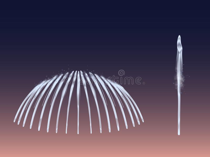 Uppsättning för springbrunnvattenstråle som isoleras på mörk bakgrund stock illustrationer