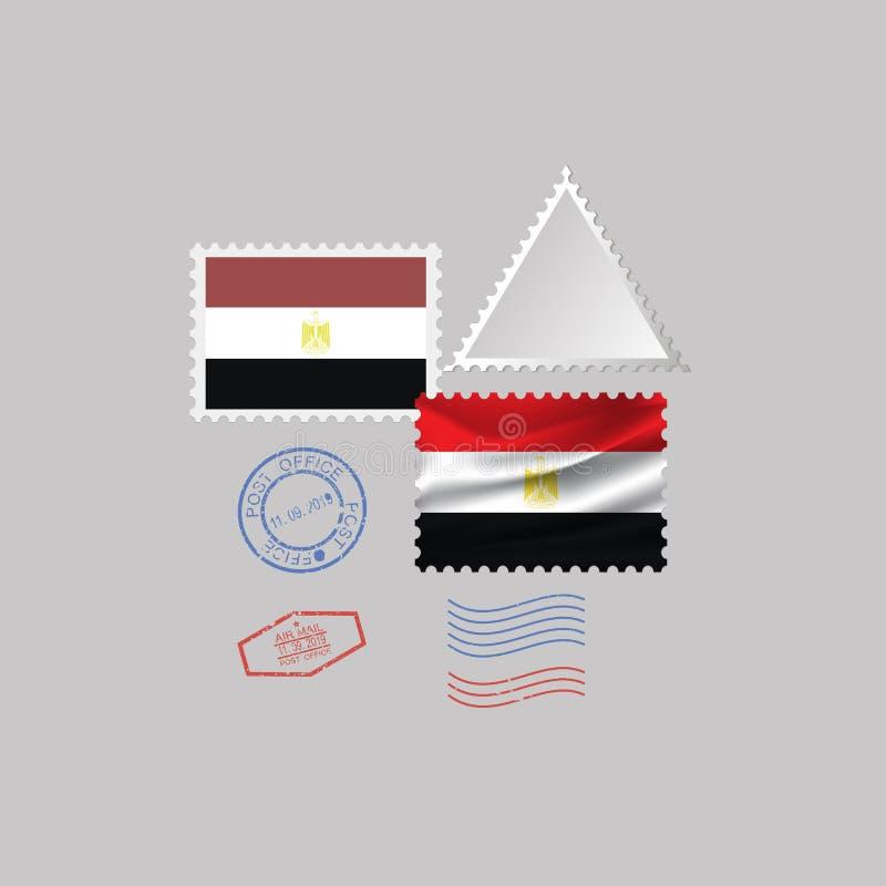 Uppsättning för stämpel för EGYPTEN flaggaporto som isoleras på grå bakgrund, vektorillustration 10 eps royaltyfri illustrationer