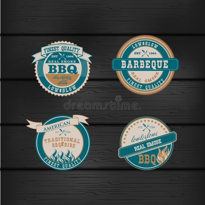 Uppsättning för stämpel för logo för grillfestBBQ-galler retro royaltyfri illustrationer