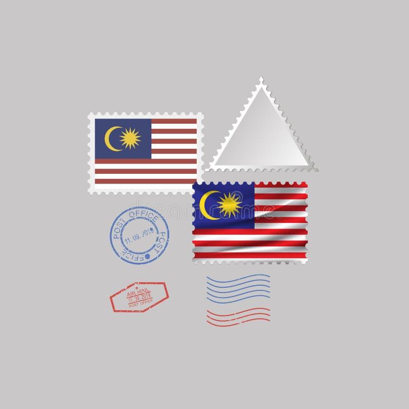 Uppsättning för stämpel för MALAYSIA flaggaporto som isoleras på grå bakgrund, vektorillustration vektor illustrationer