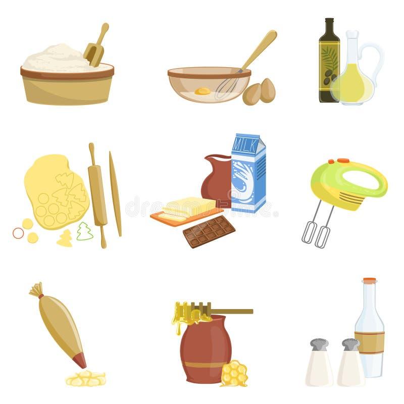 Uppsättning för stekhet process och kökutrustningav isolerade objekt royaltyfri illustrationer