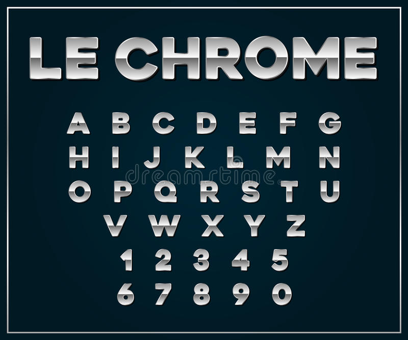 Uppsättning för stilsort för Chrome silver metallisk Bokstäver nummer royaltyfri illustrationer