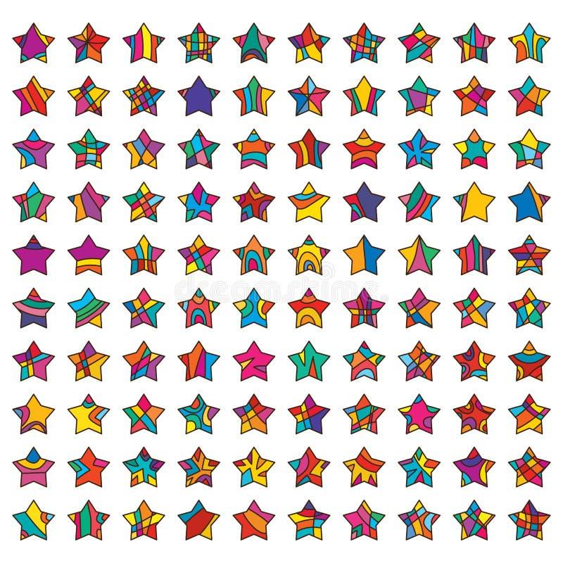 uppsättning för 100 stjärnor stock illustrationer