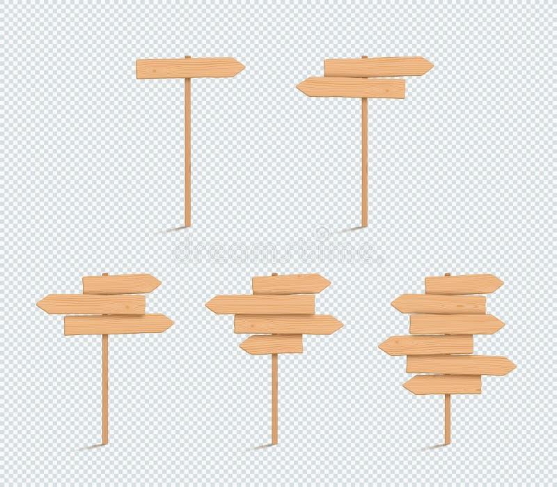 Uppsättning för stolpe för pil för riktning 3d för träteckenslätt tom stock illustrationer