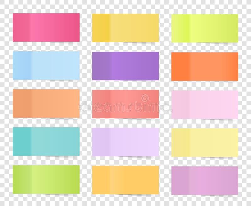 Uppsättning för stolpeanmärkningsklistermärke på genomskinlig bakgrund Pappers- klibbigt band med skugga Pinnar för stolpe för ve royaltyfri illustrationer