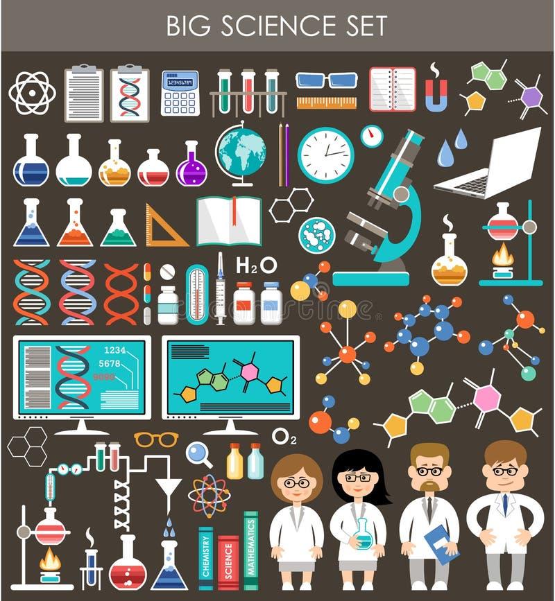 Uppsättning för stor vetenskap Infographics stock illustrationer