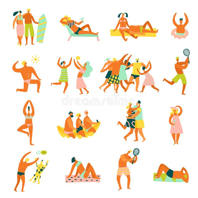 Uppsättning för strandsemesterfolk royaltyfri illustrationer