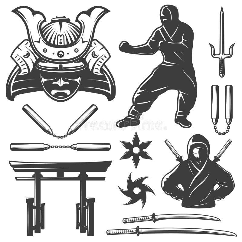 Uppsättning för stridsamurajbeståndsdelar stock illustrationer