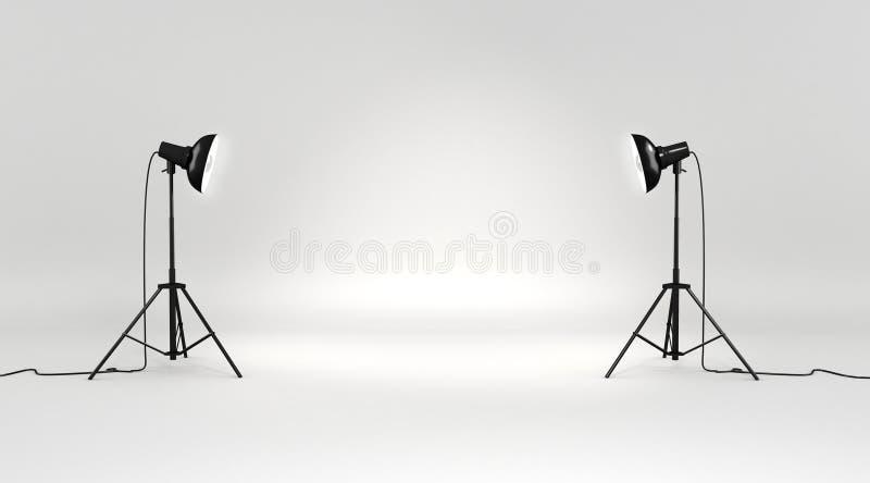 uppsättning för studio 3d arkivfoton