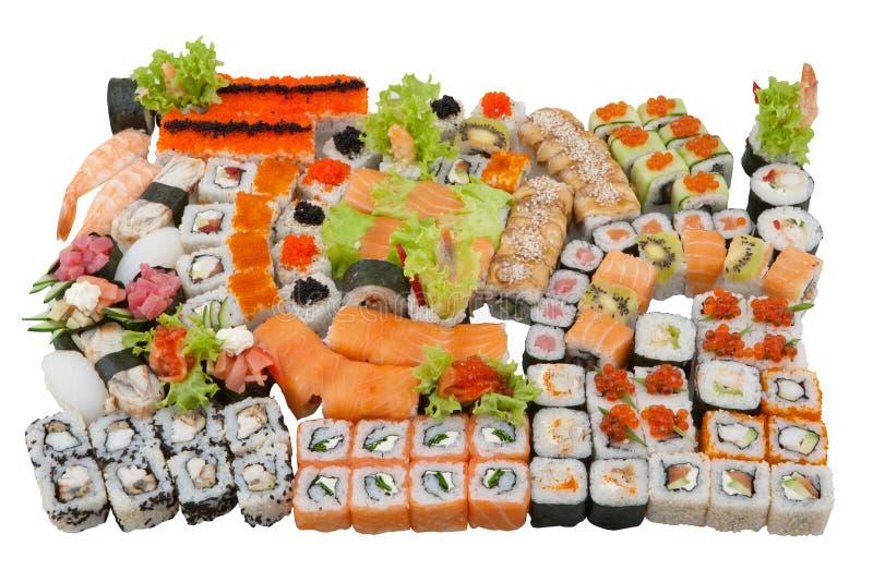 Uppsättning för sushirulle, japansk kokkonst fotografering för bildbyråer