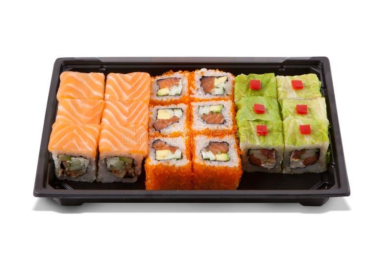 Uppsättning för sushirulle, japansk kokkonst royaltyfria bilder