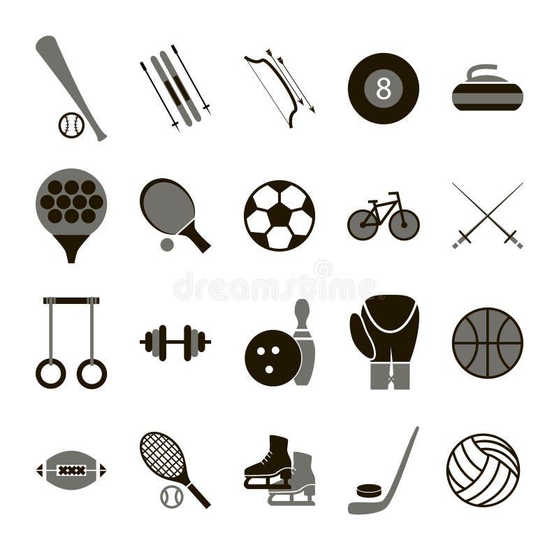 Uppsättning för svart för för sportsymbolstecken och symboler vektor vektor illustrationer
