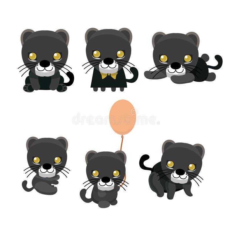 Uppsättning för svart panter stock illustrationer