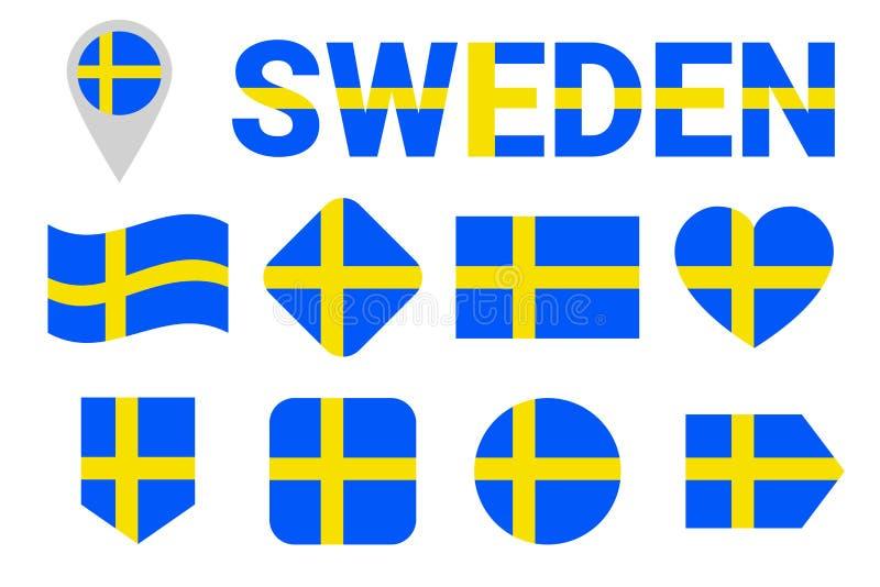 Uppsättning för Sverige nationsflaggavektor Samling av svenska flaggor Lägenhet isolerade symboler Illustration med text Sverige  stock illustrationer
