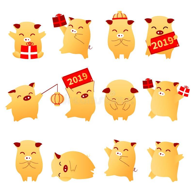 Uppsättning 2019 för svin för tecken för zodiak för tecken för tecknad film för svinår plan traditionell orientalisk kinesisk Kin stock illustrationer