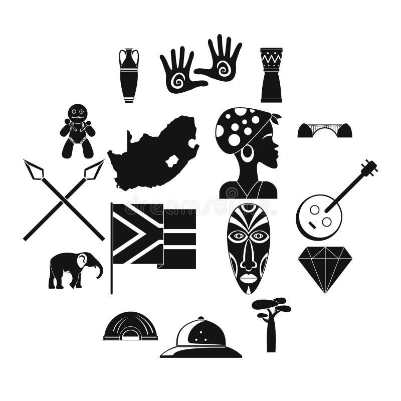 Uppsättning för Sydafrika loppsymboler, enkel stil stock illustrationer