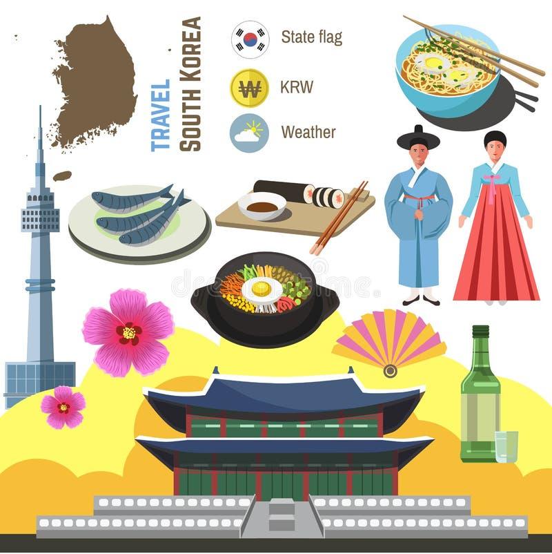 Uppsättning för Sydkorea kultursymbol Begrepp för loppSeoul riktning royaltyfri illustrationer