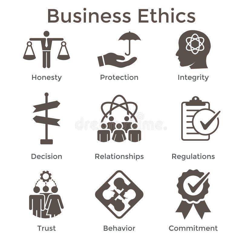 Uppsättning för symbol för affärsetik fast med ärlighet, fullständighet, Commitme vektor illustrationer