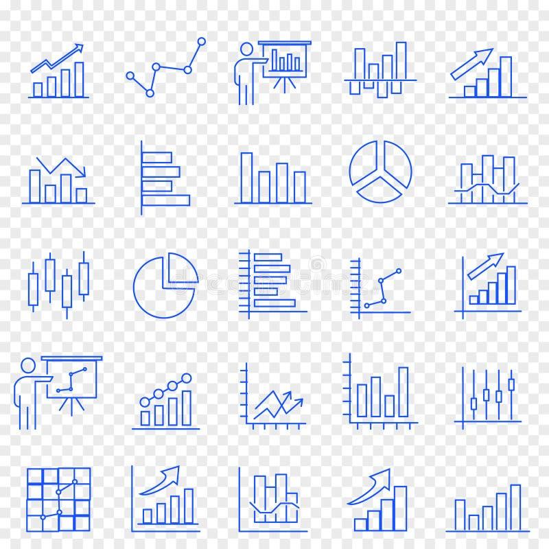 Uppsättning för symbol för affärsgraf 25 vektorsymboler packar stock illustrationer