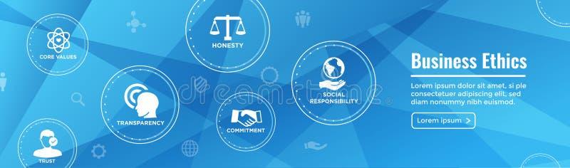 Uppsättning för symbol för baner för rengöringsduk för affärsetik med ärlighet, fullständighet, Com vektor illustrationer
