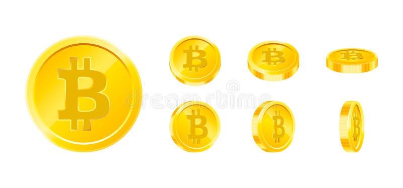 Uppsättning för symbol Bitcoin för guld- mynt i olika vinklar som isoleras på vit bakgrund Begrepp för Digital valutapengar Symbo stock illustrationer