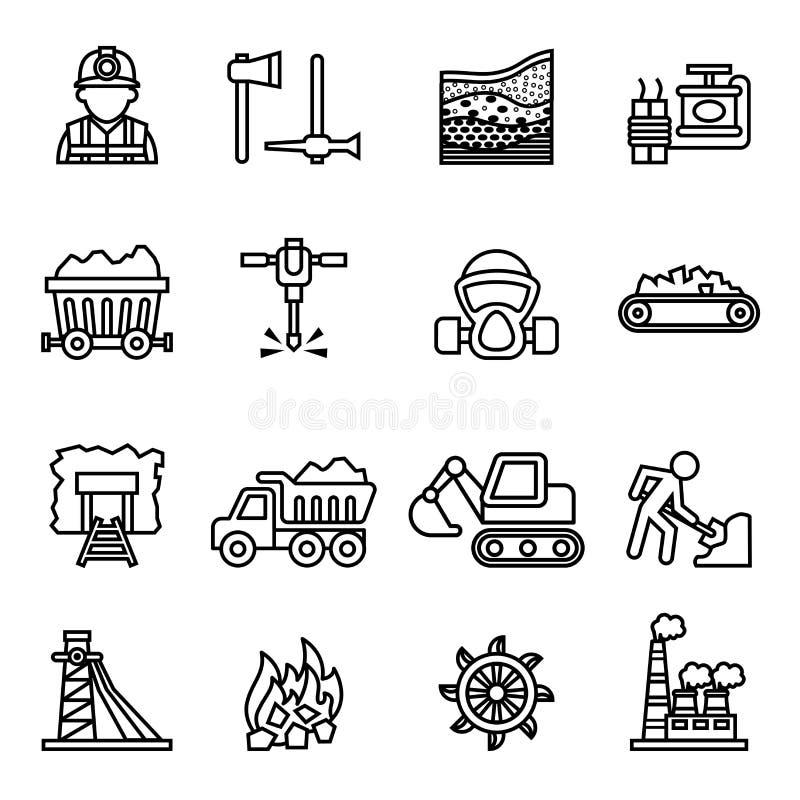 Uppsättning för symbol för coalminingfabriksbransch med vit bakgrund royaltyfri illustrationer