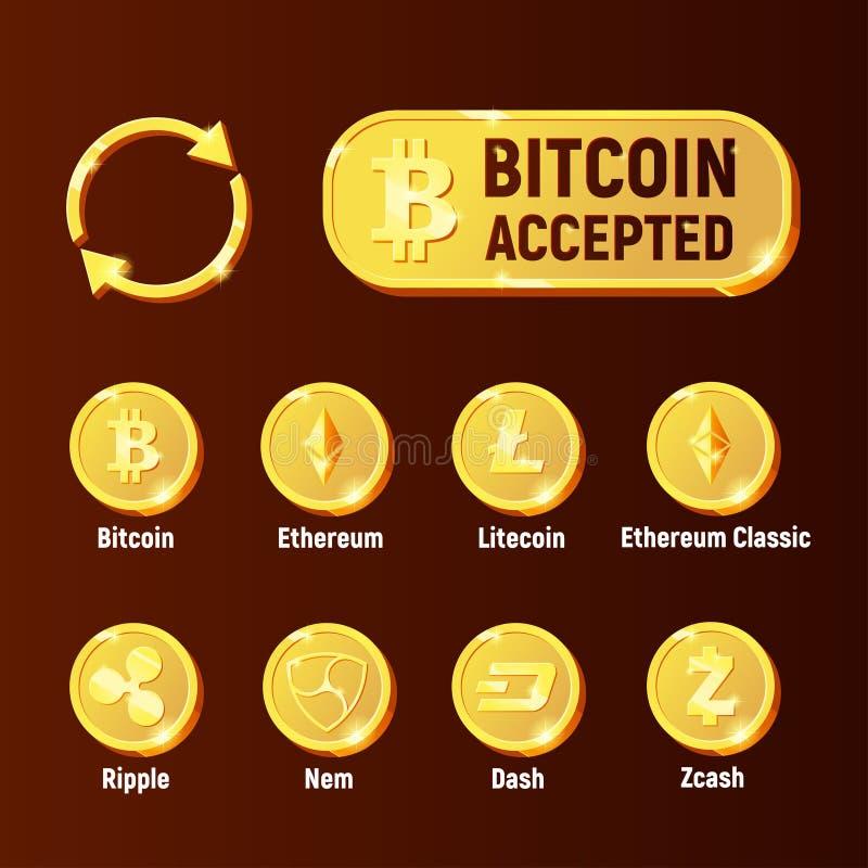 Uppsättning för symbol för Cripto valutautbyte stock illustrationer