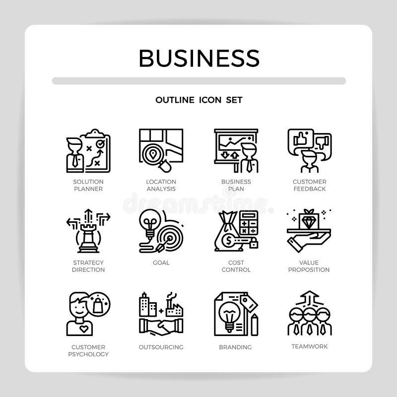 Uppsättning för symbol för design för översikt för affärsledning stock illustrationer