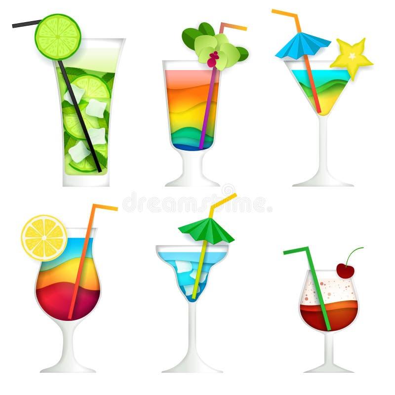 Uppsättning för symbol för drink för sommar för coctail för vektorpapperssnitt royaltyfri illustrationer