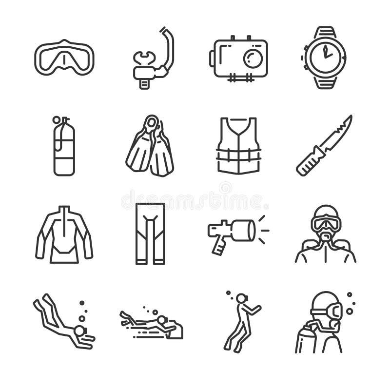 Uppsättning för symbol för dykapparatdykning Inklusive symbolerna som undervattens-, dykare, maskering, fena, regulator, wetsuit  vektor illustrationer