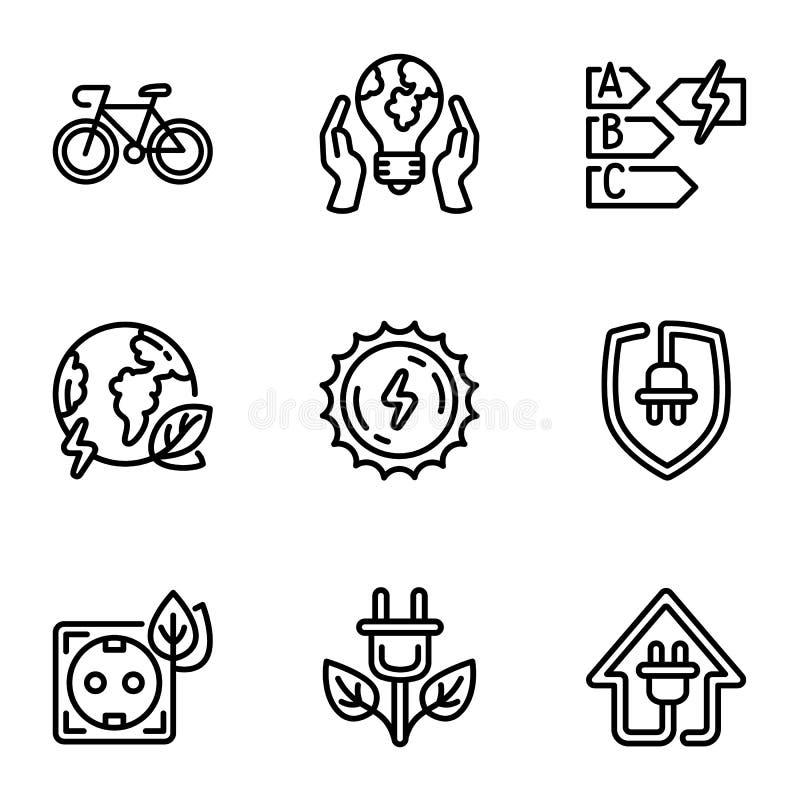 Uppsättning för symbol för Eco energikälla, översiktsstil stock illustrationer