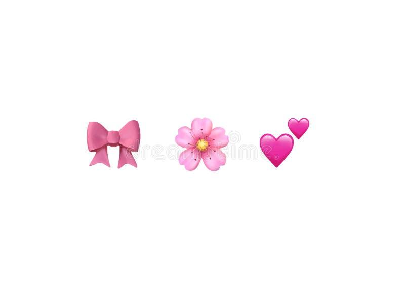 Uppsättning för symbol för färg för Emoji emoticonreaktioner: rosa pilbåge, Cherry Blossom, två hjärtor, isolerad vektor stock illustrationer