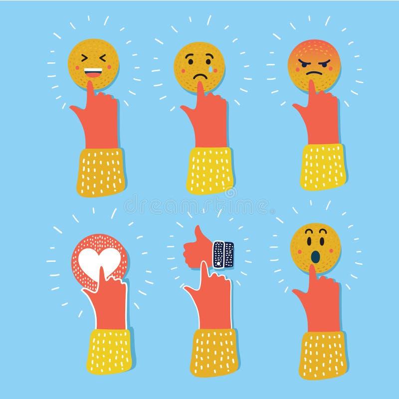 Uppsättning för symbol för färg för Emoji emoticonreaktioner Social leendeuttryckssamling stock illustrationer
