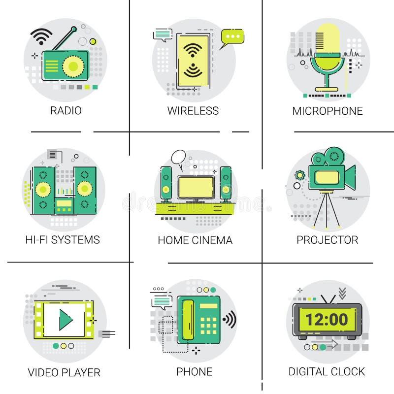 Uppsättning för symbol för anslutning för radio för underhållning för videospelare trådlös royaltyfri illustrationer
