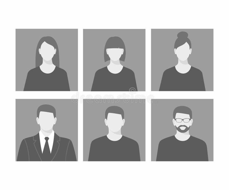 Uppsättning för symbol för Avatarprofilbild inklusive man och kvinnlig royaltyfri illustrationer