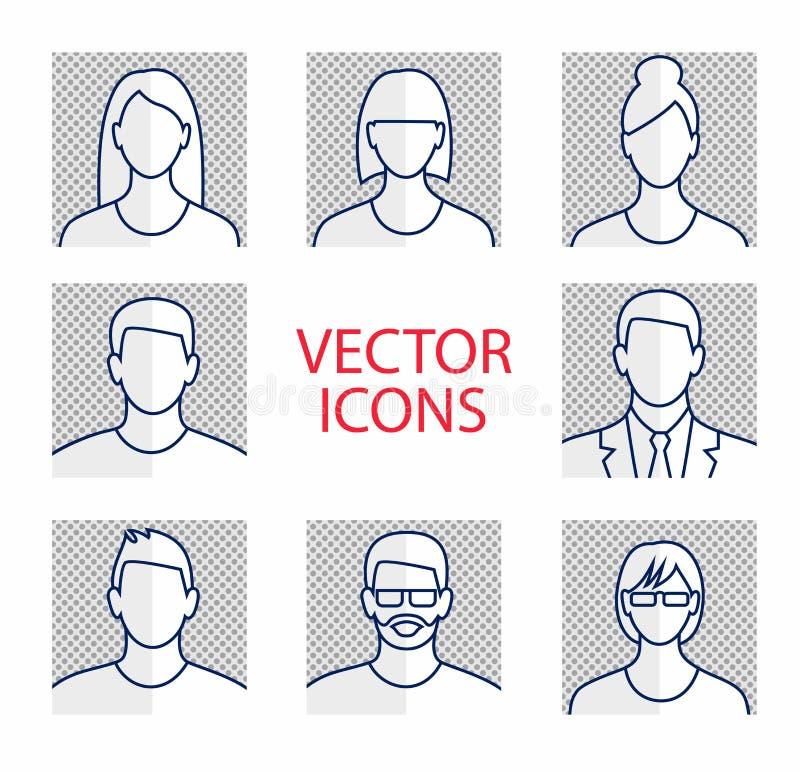 Uppsättning för symbol för Avatarprofilbild inklusive man och kvinnlig vektor illustrationer