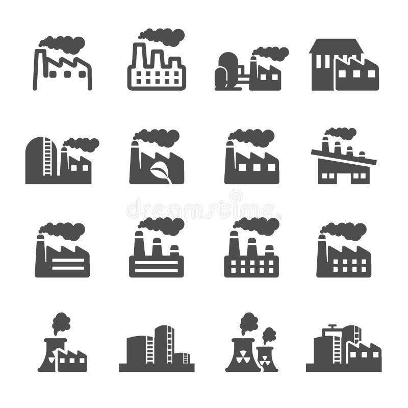 Uppsättning för symbol för byggnad för fabriksväxt, vektor eps10 royaltyfri illustrationer