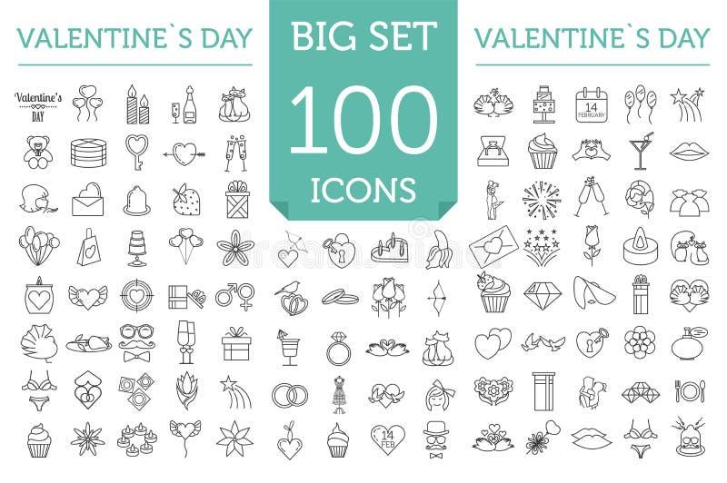 Uppsättning för symbol för dag för valentin` s Romantiska designbeståndsdelar på w vektor illustrationer