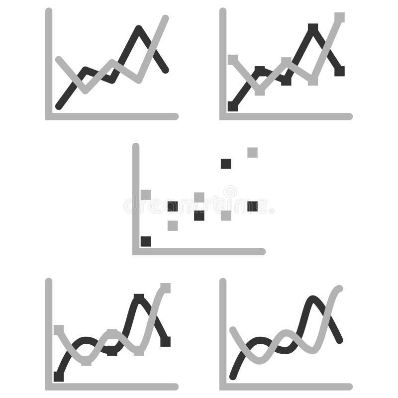 Uppsättning för symbol för diagram för diagram för affärsgraf för designpresentation in, scatterdiagram i mono signal stock illustrationer