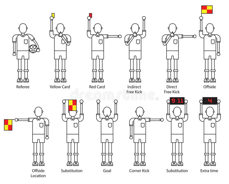 Uppsättning för symbol för domarefotbollsignaler royaltyfri illustrationer