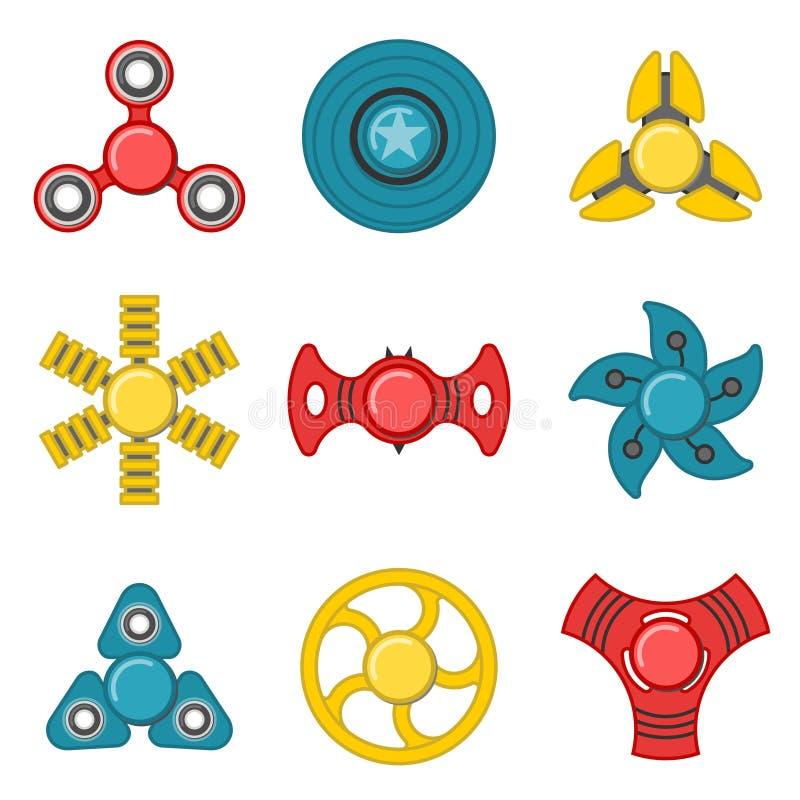 Uppsättning för symbol för extra vektor för handrastlös människaspinnare färgrik royaltyfri illustrationer