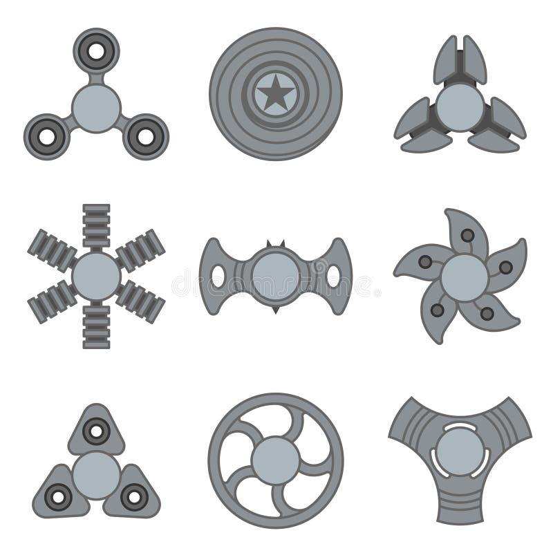 Uppsättning för symbol för extra vektor för handrastlös människaspinnare grå stock illustrationer